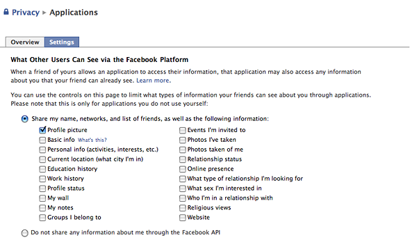 Profile privacy settings